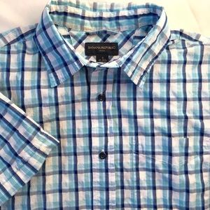 Banana Republic Blue Plaid Button Up Shirt Sz S